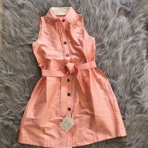 Belted peach  Silk plaid dress with button front